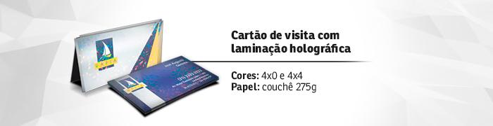 Cartão de visita laminação holográfica